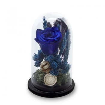 Grace Mavi Solmayan Güllü Küçük Fanus